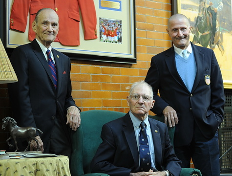 Three members of the USA's 1960 Rome silver medal Olympic squad and pillars of the U.S. Equestrian Team: Billy Steinkraus, Frank Chapot, George Morris. (Photo by Nancy Jaffer)