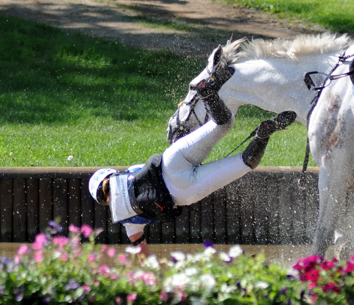 All it takes is one fall on cross-country for a team without a drop score to have its Olympic medal hopes dashed. (Photo by Nancy Jaffer)